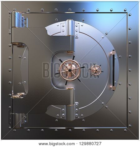 Render of the bank vault door 3D