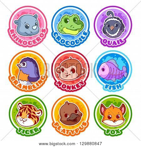 Set of round stickers with cute animals. Vector cartoon illustration isolated on a white background.
