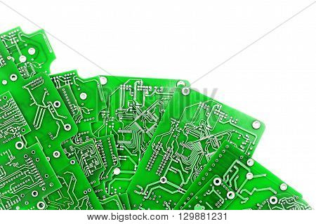 A lot of green PCB on a white background