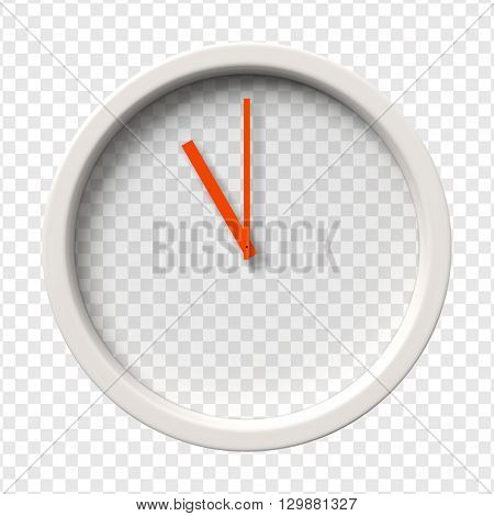 Realistic Wall Clock. Eleven o'clock am or pm. Transparent face. Red hands. Ready to apply. Graphic element for documents, templates, posters, flyers. Vector illustration