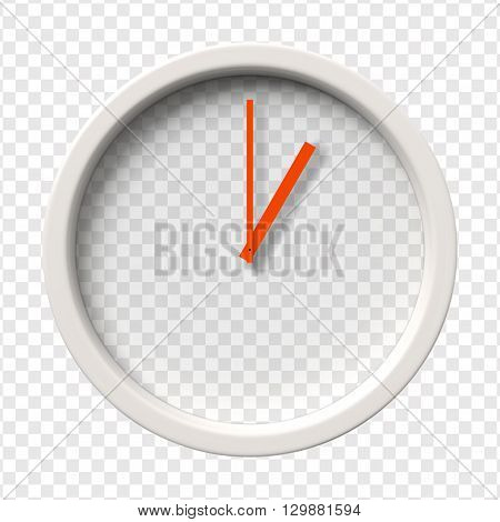 Realistic Wall Clock. One o'clock am or pm. Transparent face. Red hands. Ready to apply. Graphic element for documents, templates, posters, flyers. Vector illustration