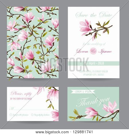 Wedding Invitation. Congratulation Card Set. Save the Date. Magnolia Flowers. Vector Postcards.