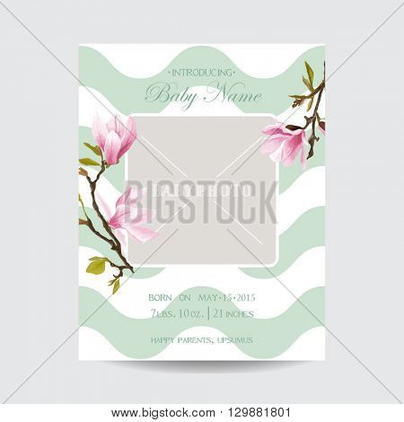 Baby Arrival Card with Photo Frame - Blossom Magnolia Flowers Theme - in vector