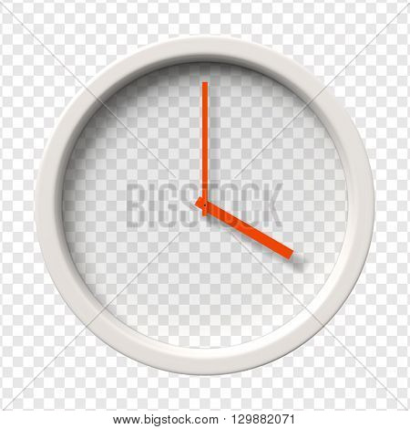 Realistic Wall Clock. Four o'clock am or pm. Transparent face. Red hands. Ready to apply. Graphic element for documents, templates, posters, flyers. Vector illustration
