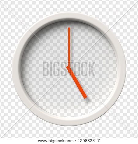 Realistic Wall Clock. Five o'clock am or pm. Transparent face. Red hands. Ready to apply. Graphic element for documents, templates, posters, flyers. Vector illustration