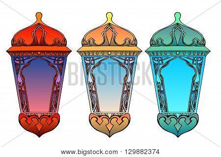 Set of colorful arabic lanterns. Ramadan lantern. The Muslim festival of Ramadan