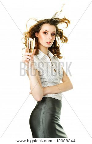 Young Ginger Woman With Champagne Glass