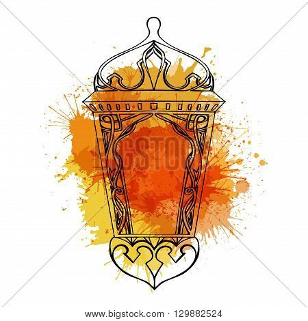 Outline of arabic lantern with yellow watercolor splashes. Ramadan lantern. The Muslim festival of Ramadan