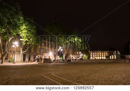 Palace square in Avignon in the night France