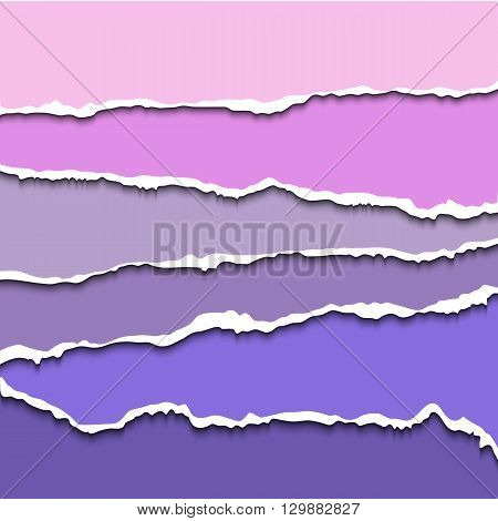 Colorful set of violet torn paper banners for website. Vector torn paper with rough ripped edges for scrapbooking and craft design. Torn paper sheets. Ripped paper template