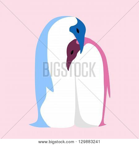 Vector flat illustration of a pair of penguins. Love. Embrace