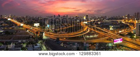 Bangkok Expressway and Highway top view Night scene with traffic light Thailand