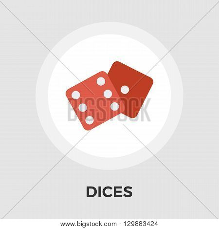 Dices icon vector. Flat icon isolated on the white background. Editable EPS file. Vector illustration.