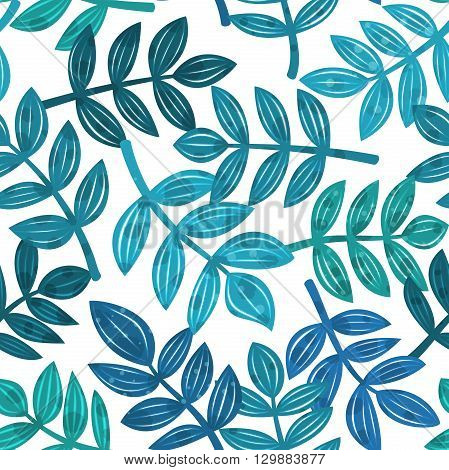 Detailed colorful background with leaves of tropical plants randomly arranged, palm branches in different shades of blue, vector seamless pattern