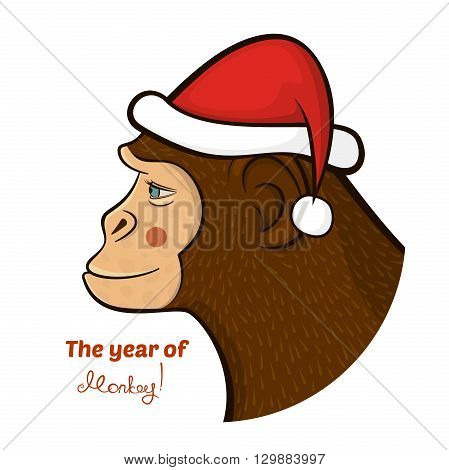 Bright colorful holiday card with a New year, with a monkey in a Santa Claus cap, cartoon character face in profile and calligraphy inscription congratulation, vector illustration in doodle style