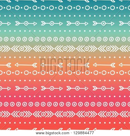 Hand drawn geometric ethnic tribal seamless pattern. Wrapping paper. Scrapbook. Doodles style. Tribal native vector illustration. Aztec background. Ink graphic texture for design. Boho stripes