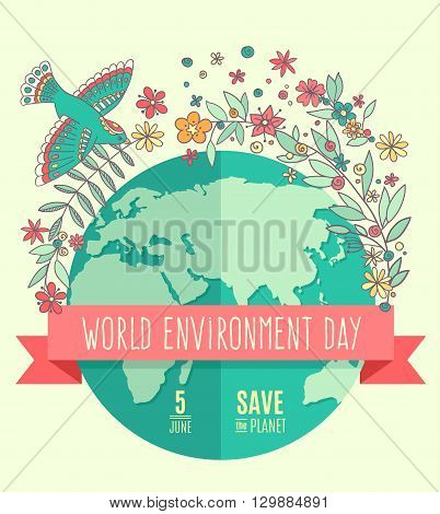 World environment day concept with mother earth globe and green leaves and flovers on beige background. With an inscription Save the Planet, 5 June. Vector Illustration.