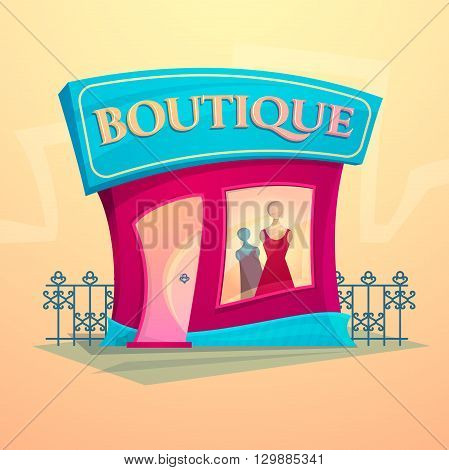 Facade fashion shop, beautiful bright cartoon house in the street environment, women clothing boutique, vector illustration