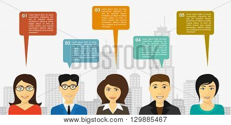 infographic template design with people and speech bubbles flat style illustration