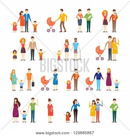 Parents with kids, cartoon family, on an isolated background. Flat design vector illustration.