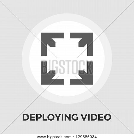 Deploying video icon vector. Flat icon isolated on the white background. Editable EPS file. Vector illustration.