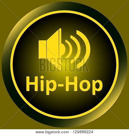 Icon the button with musical style hip-hop and the loudspeaker