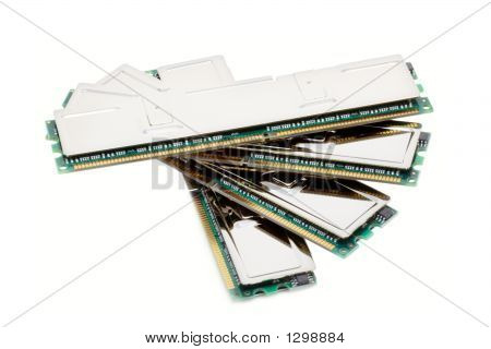 Hi-End Computer Memory Modules (Isolated On White)