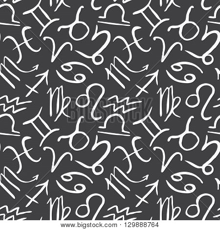 Zodiac Signs Seamless Pattern. Hand Drawn Astrology Symbols. Horoscope Icons Vector Illustration