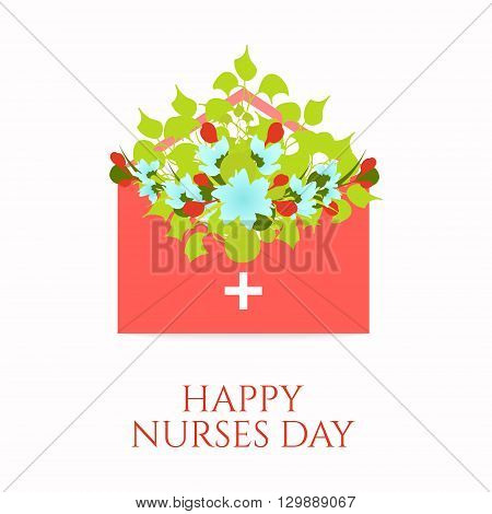 Happy nurses day poster with flowers in an envelope on white background. Medical concept. Vector illustration.