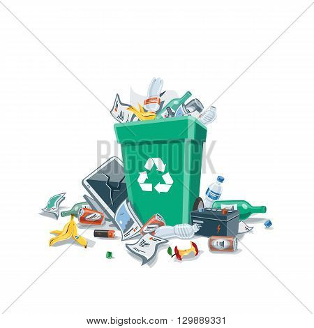 Littering waste that have been disposed improperly at an inappropriate location around the green dust bin. Isolated vector illustration on white background. Garbage can is full of trash. Trash is fallen on the ground.