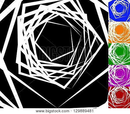 Abstract Background Set With Concentric Rotating Contour Lines. Spiral, Vortex Background Set. Set O