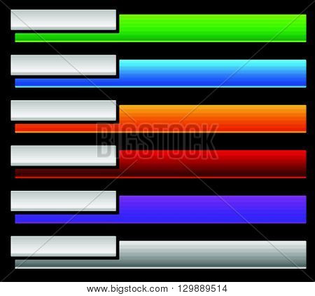 Colorful Button, Banner Background Templates. Horizontal Tabs With Blank Space.