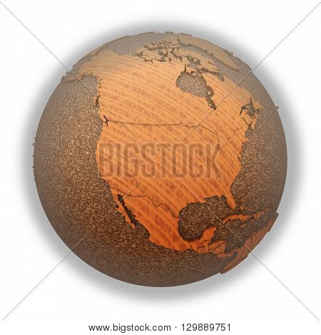 North America On Wooden Planet Earth