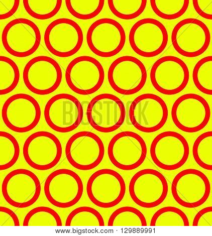 Seamless Pattern With Outline Circles. Pop Art Colors.