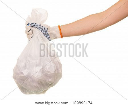 Garbage bags of waste in the hand isolated on white background.