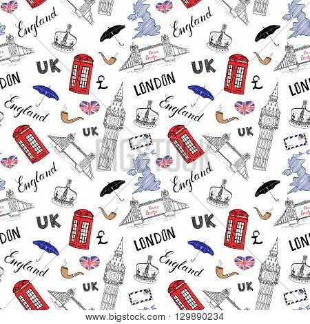 London City Doodles Elements Seamless Pattern. With Hand Drawn Tower Bridge, Crown, Big Ben, Red Bus