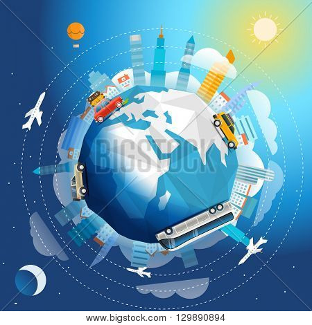 Across the world tour by different vehicle. Travel concept vector illustration