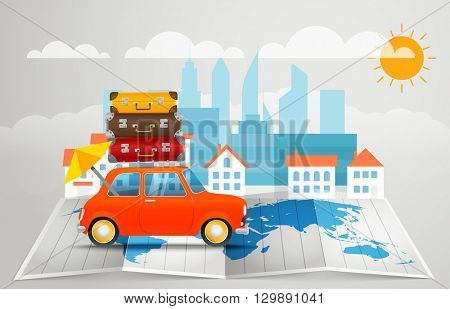 World map with the car. Vector infographic elements. Summer vacation vector concept