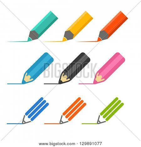 Color crayons and markers icons vector set