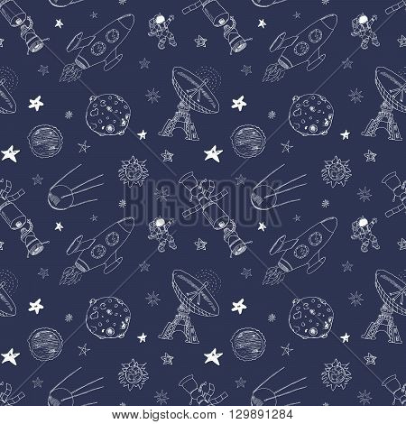 Space Doodles Icons Seamless Pattern. Hand Drawn Sketch With Meteors, Sun And Moon, Radar, Astronaut