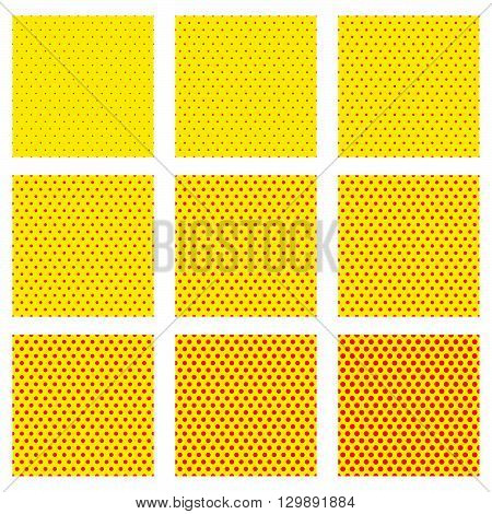 Pop-art, Dotted Background, Pattern Set. Duotone Seamlessly Repeatable Patterns. Set Of Version With