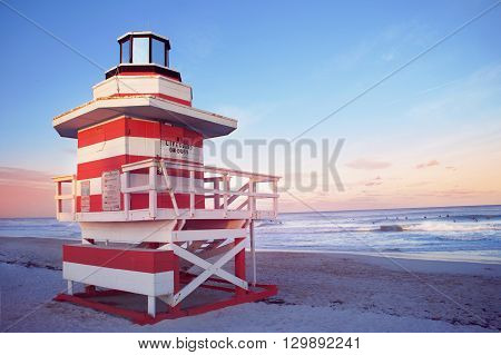 South Beach of Miami evening view United States