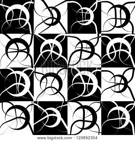 Repeatable Monochrome, Geometric Pattern With Random, Scattered Intersecting Circles. Black And Whit