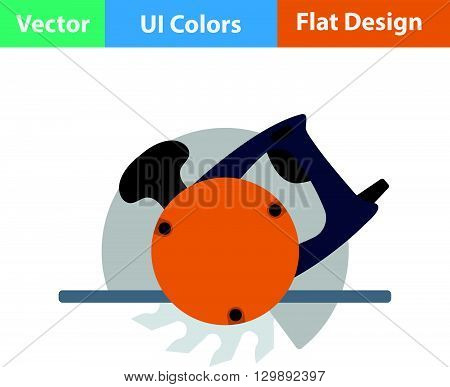 Flat Design Icon Of Circular Saw