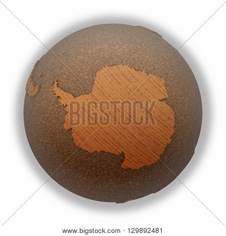 Antarctica On Wooden Planet Earth