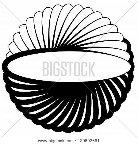 Silhouette Of Rotating Oval, Ellipse Shape. Abstract Spiral Element.