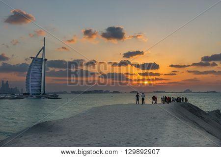 Burj Al Arab And Maarina At The Sunset, Dubai