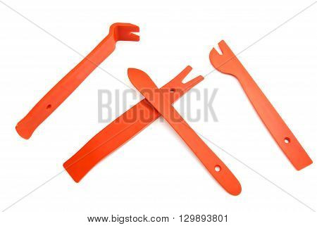 Crowbar And Shovels On White