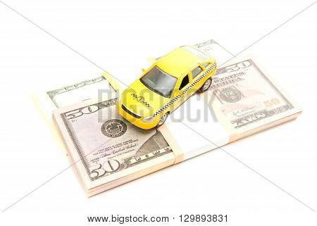 Taxi Car And Dollars