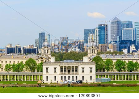 View of Canary Wharf and Greenwich University from Greenwich hill of London England UK
